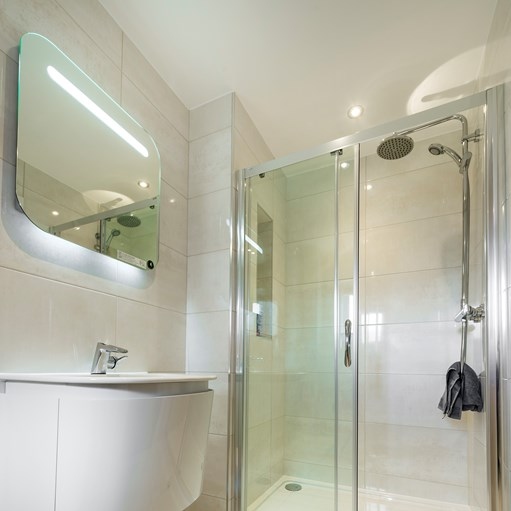 luxury showering solution shower doors and sink