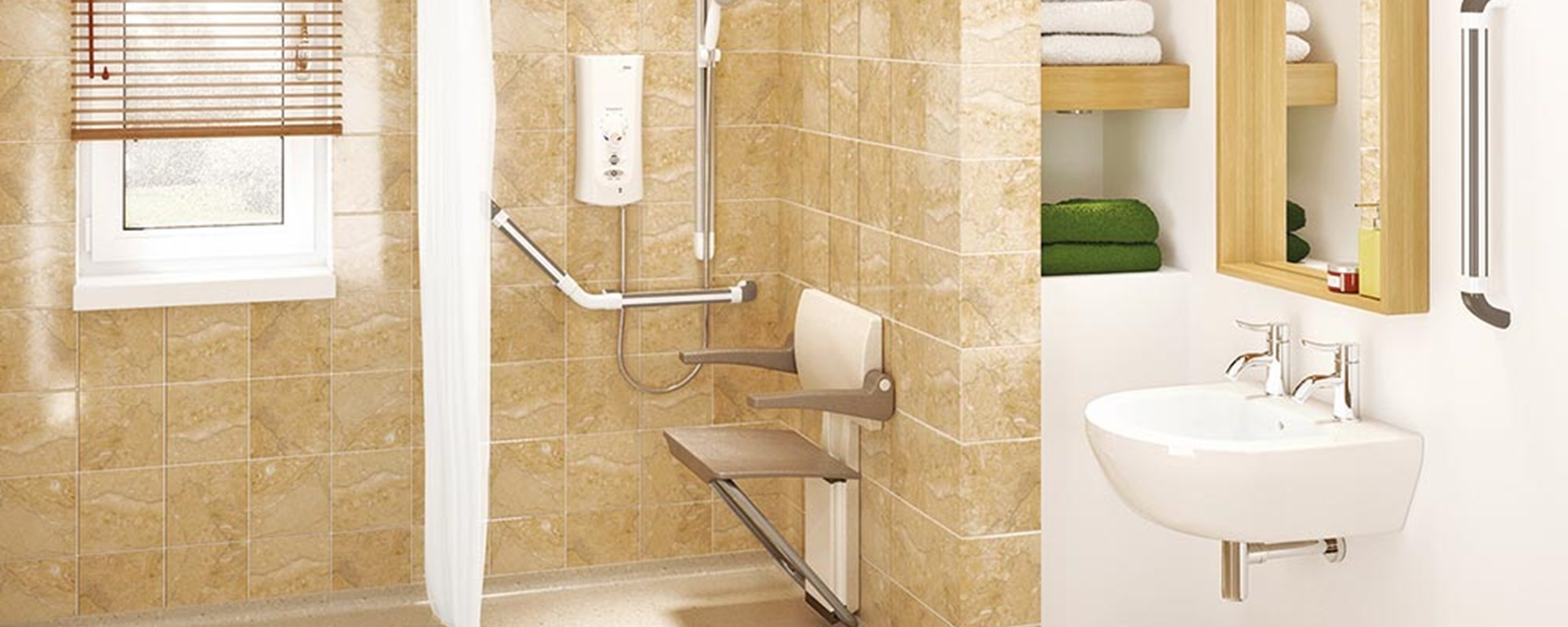 shower curtain rail and shower seat assisted living