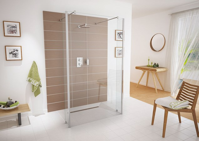 bathroom showing aqua screen doors