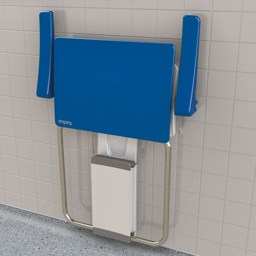 disabled shower seat slimfold blue