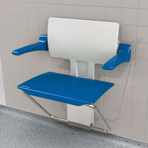 disabled shower seat slimfold blue open view