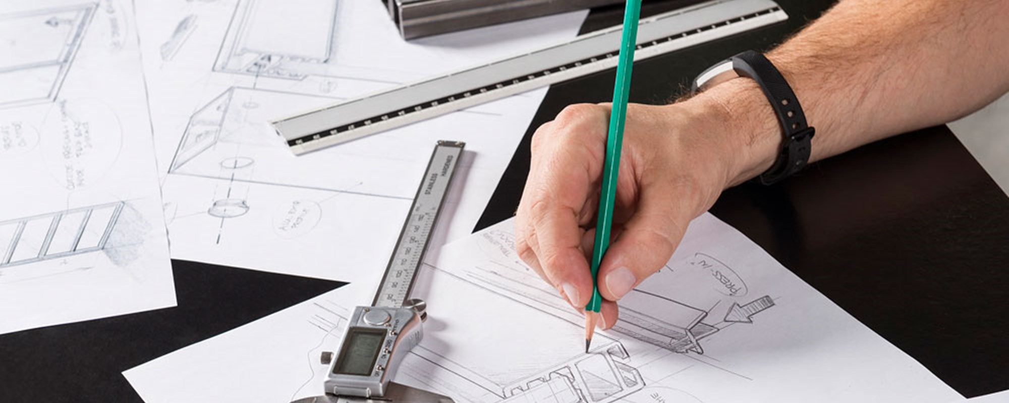 architect designing and drawing