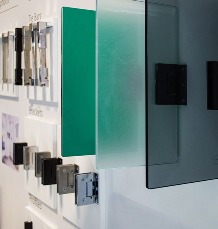 showering accessories and wetroom products display