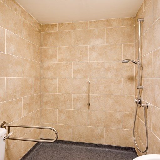 disabled shower room tiled