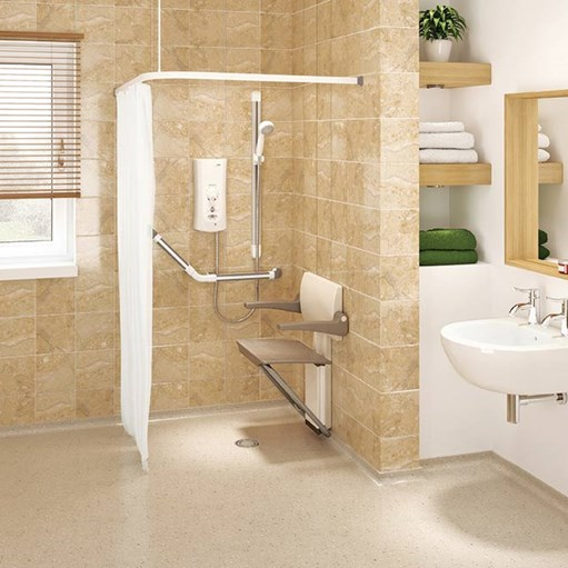 accessible bathroom with shower seat for elderly or disabled