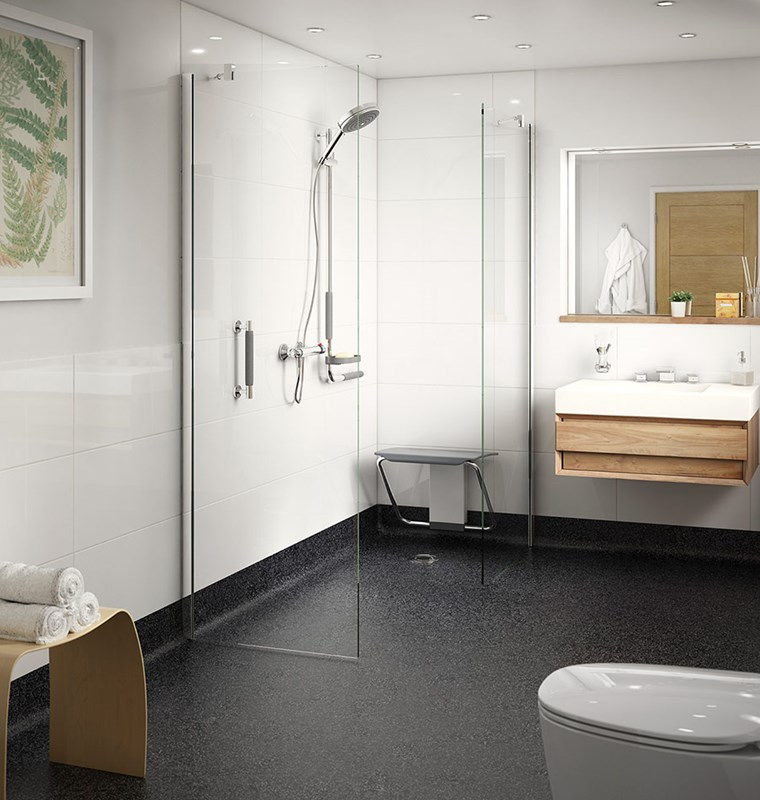 Modern wet room for independent living with shower seat