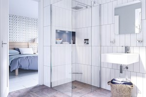 Bright Ensuite walk in shower clear screen